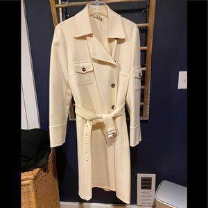 Cream Burberry wool coat.